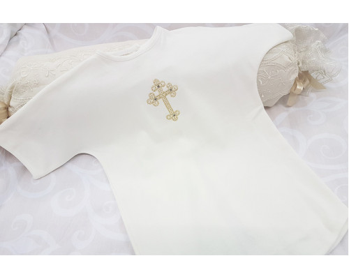 Крестильная рубашка с вышивкой на кнопочках JollyBaby